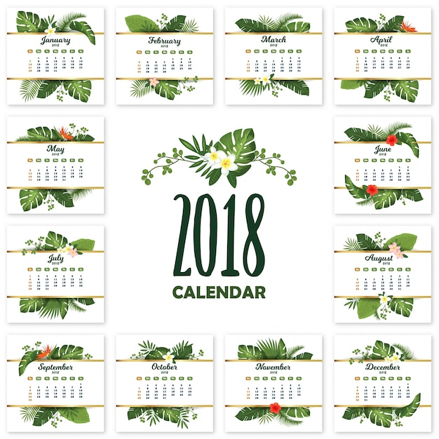 Tropical printable calendar for 2018 year with exotic leaves and