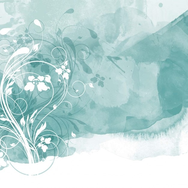 Turquoise watercolour Floral Background Vector Free Download