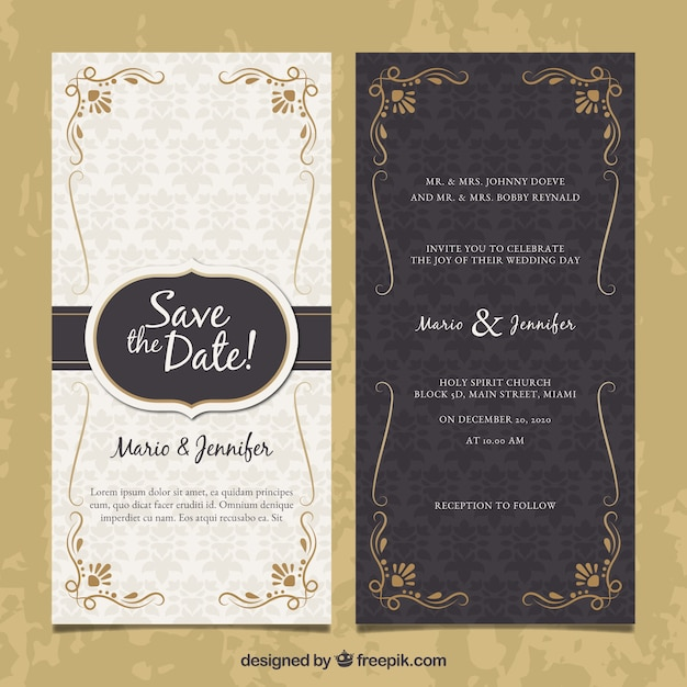 Two-sided wedding invitation in vintage style Vector Free Download