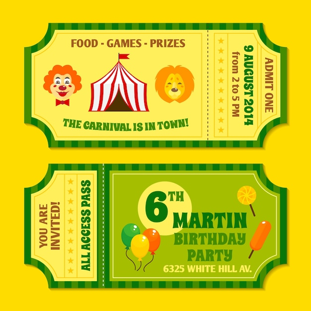 Two vintage circus carnival birthday party invitation tickets