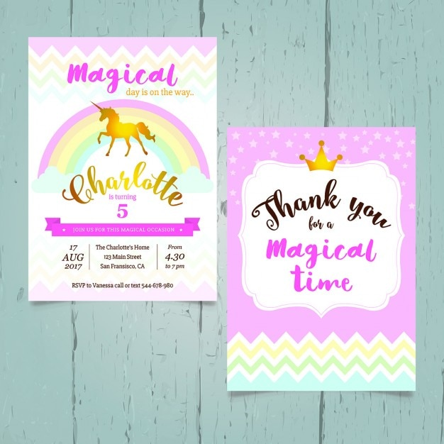 Unicorn birthday invitation Vector Free Download