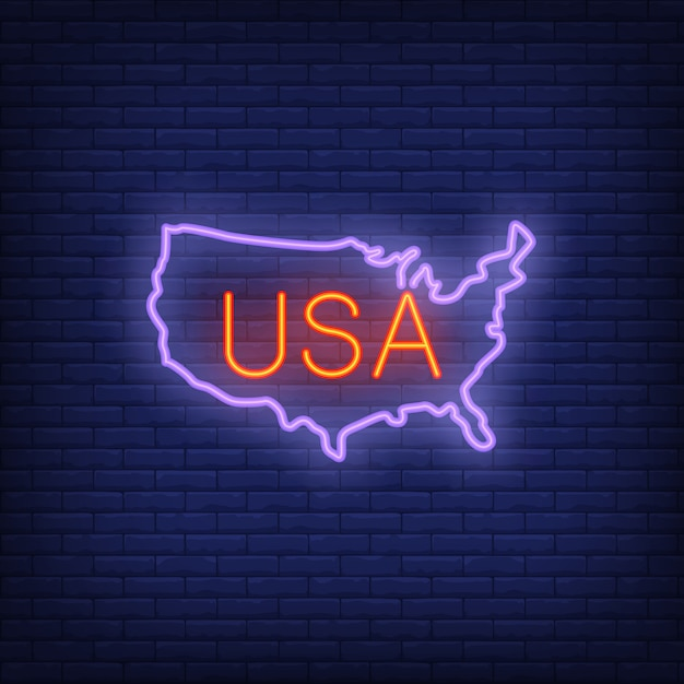 Usa map on brick background neon style illustration usa banner