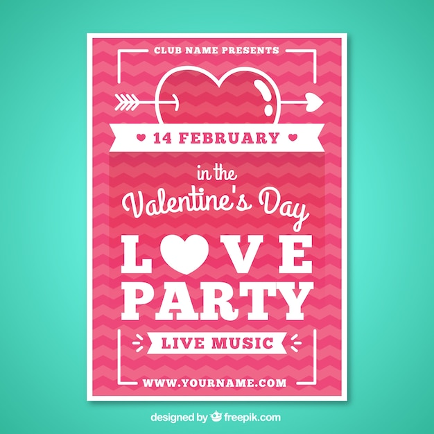 Valentine day party poster in a flat design Vector Free Download