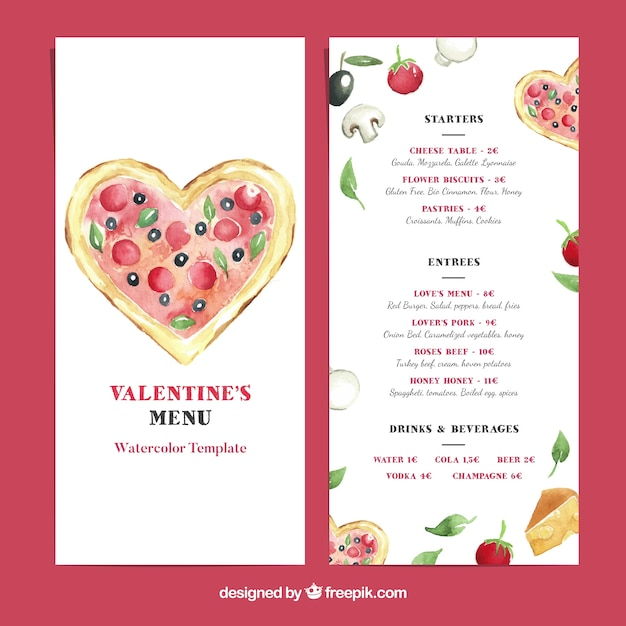 Valentine menu template with pizza Vector Free Download