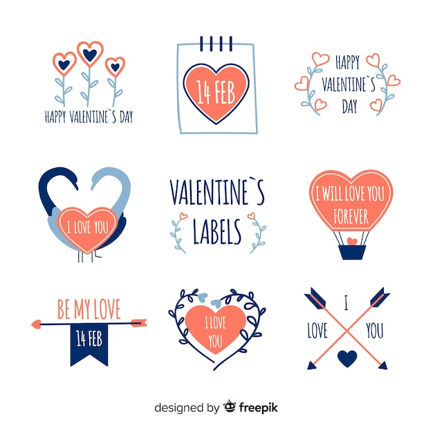 Valentine\u0027s day label collection Vector Free Download