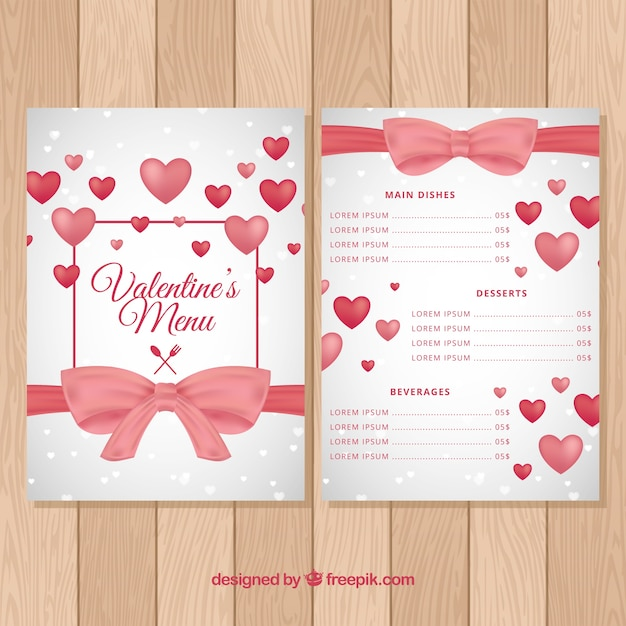 Valentine\u0027s day menu template Vector Free Download - valentines day menu template