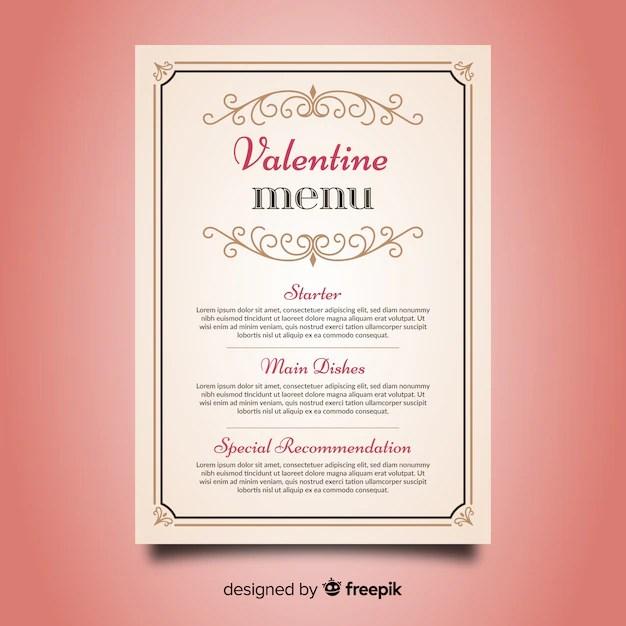 Valentine\u0027s day menu template Vector Free Download