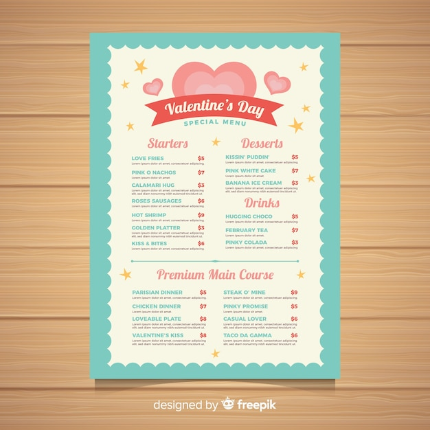 Valentine\u0027s day menu template Vector Free Download