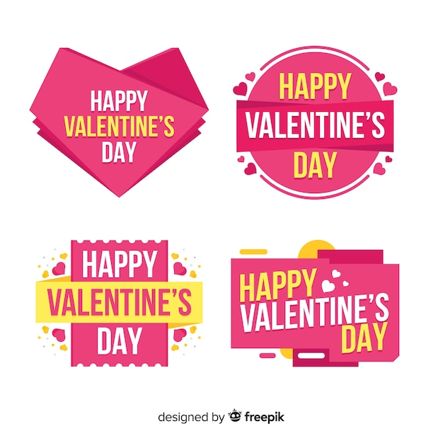 Valentines day label collectio Vector Free Download