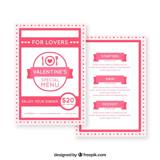Valentines day menu template for lovers Vector Free Download - valentines day menu template
