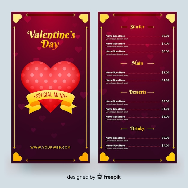 Valentines day menu template in realistic style Vector Free Download