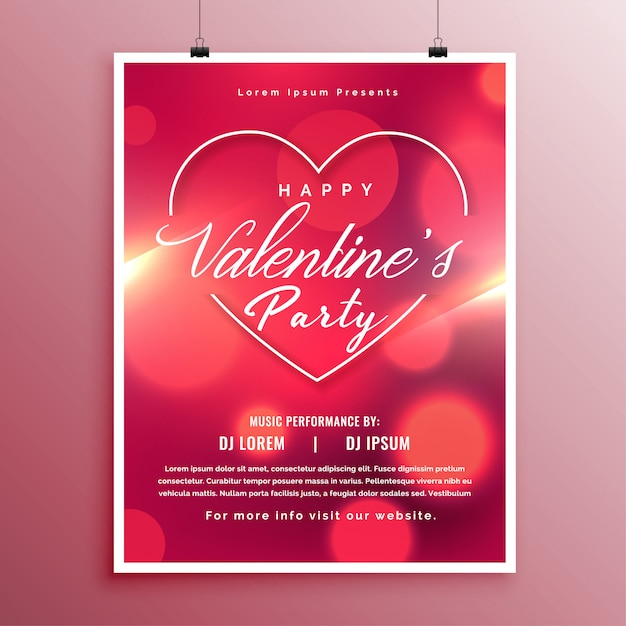Valentines day party event flyer template design Vector Free Download