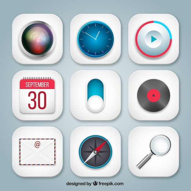 Variety of app icons Vector Free Download - apps symbol