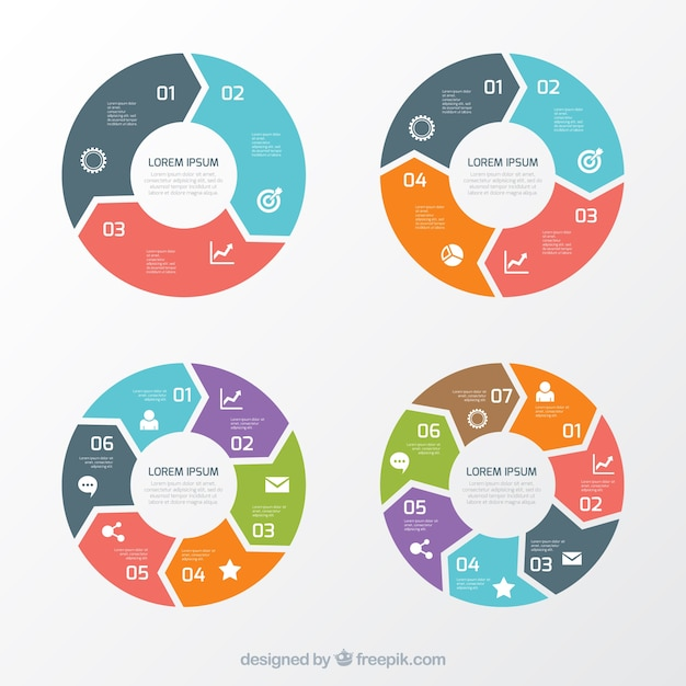 Variety of round charts Vector Free Download