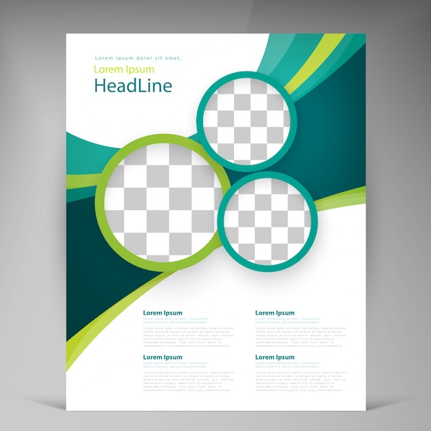 Vector abstract template design flyer, cover with turquoise and