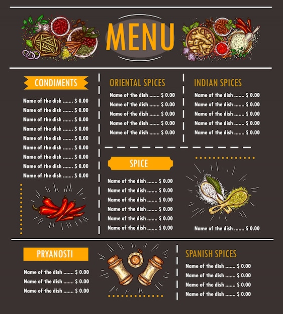 Vector illustration of a menu with a special offer of various herbs