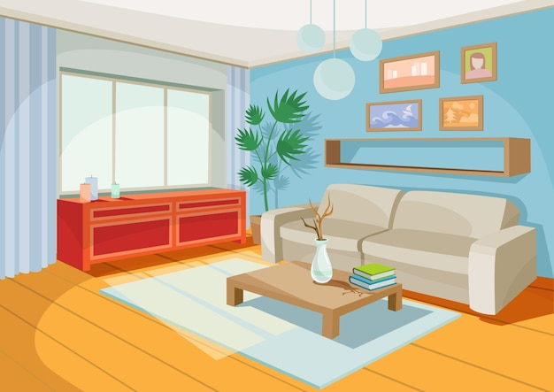 Vector Illustration Of A Cozy Cartoon Interior Of A Home