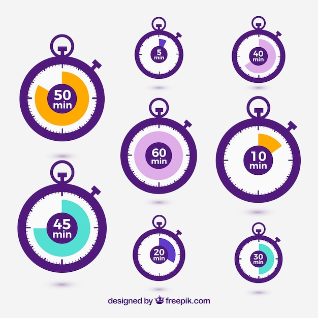 Vector stopwatch icons set Vector Free Download