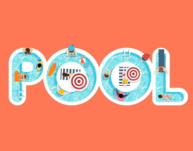 Vector of summer feel design with the word pool Vector Free Download
