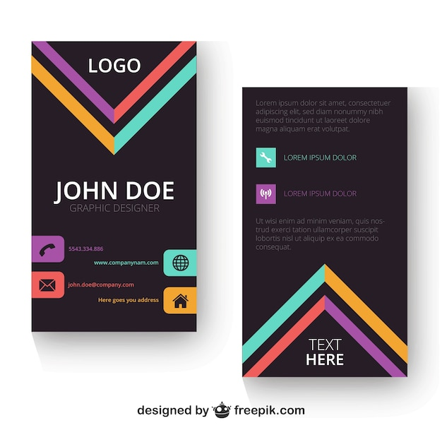 Vertical business card template Vector Free Download - vertical business card