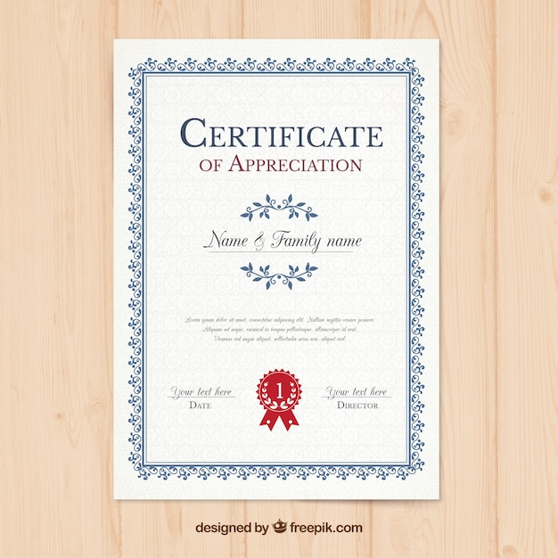 Vertical Certificate Template Vector Free Download - certificates templates free