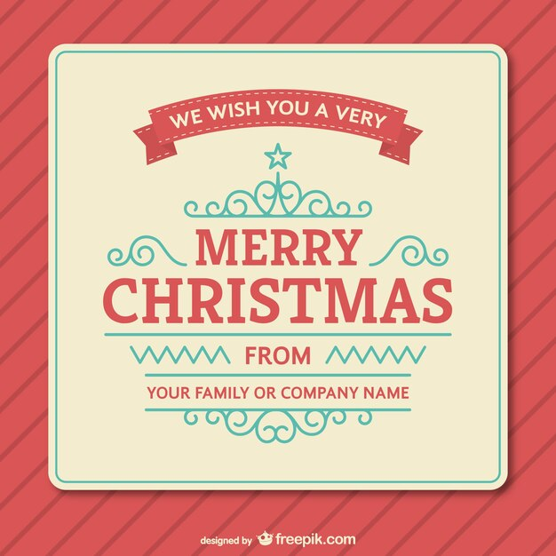 Vintage Christmas card template Vector Free Download - free xmas card template