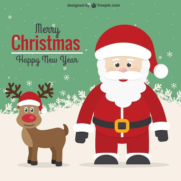 Vintage Christmas card with Santa and reindeer Vector Free Download