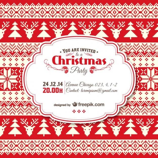 Vintage Christmas invitation template Vector Free Download - free christmas party templates invitations