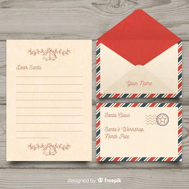 Vintage dear santa christmas letter and envelope set Vector Free