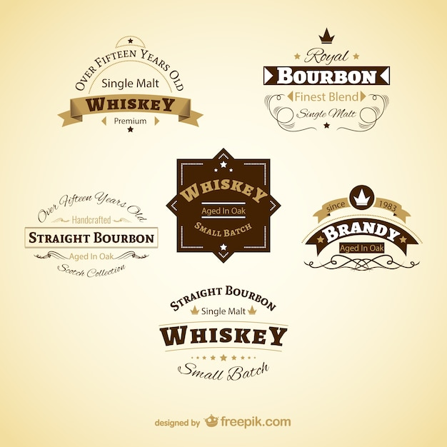 Vintage drinks labels Vector Free Download - abel templates psd
