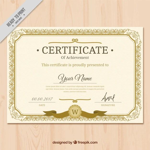 Vintage golden classic certificate Vector Free Download