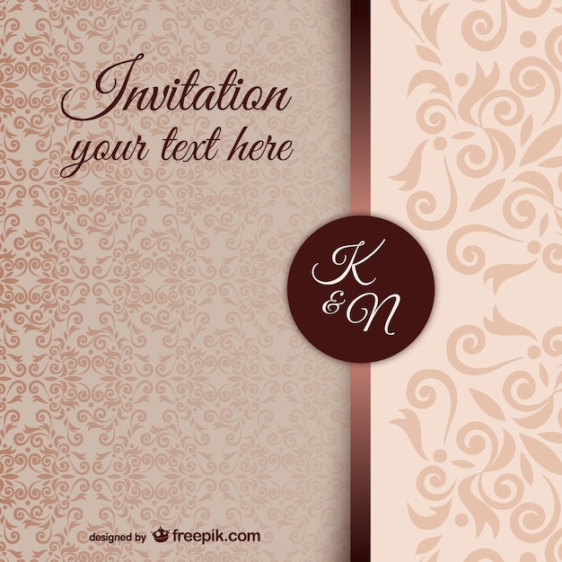 Vintage invitation template with damask pattern Vector Free Download - free download invitation templates