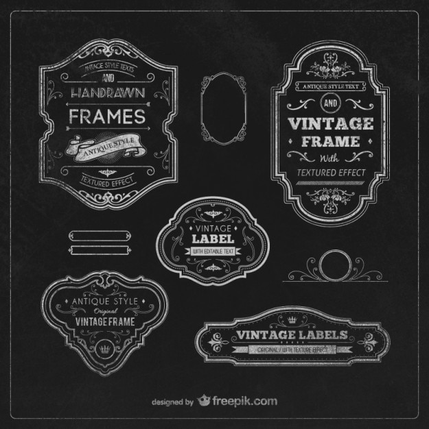 Vintage labels and frames Vector Free Download