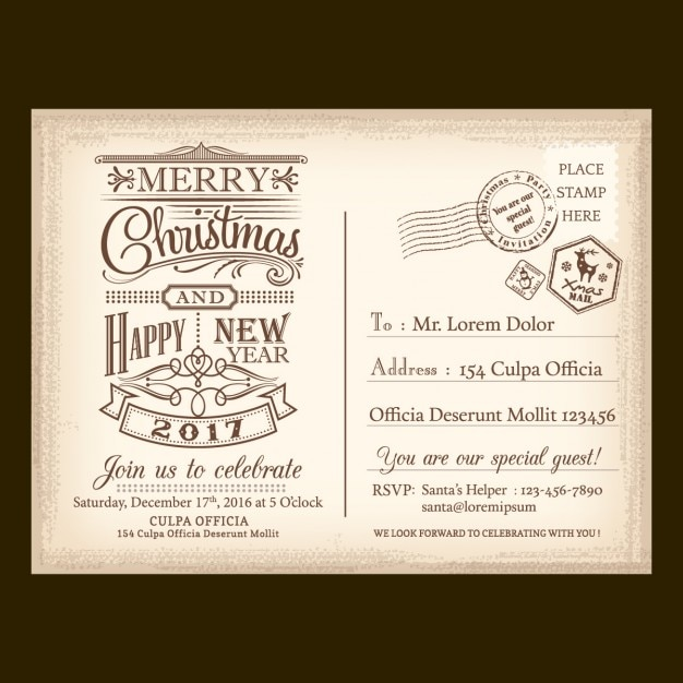 A vintage letter for santa claus Vector Free Download