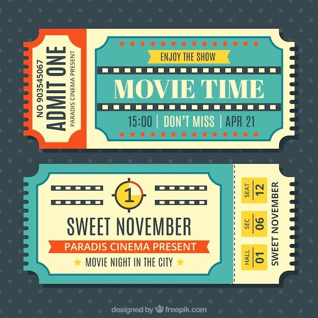 Vintage movie tickets set Vector Free Download