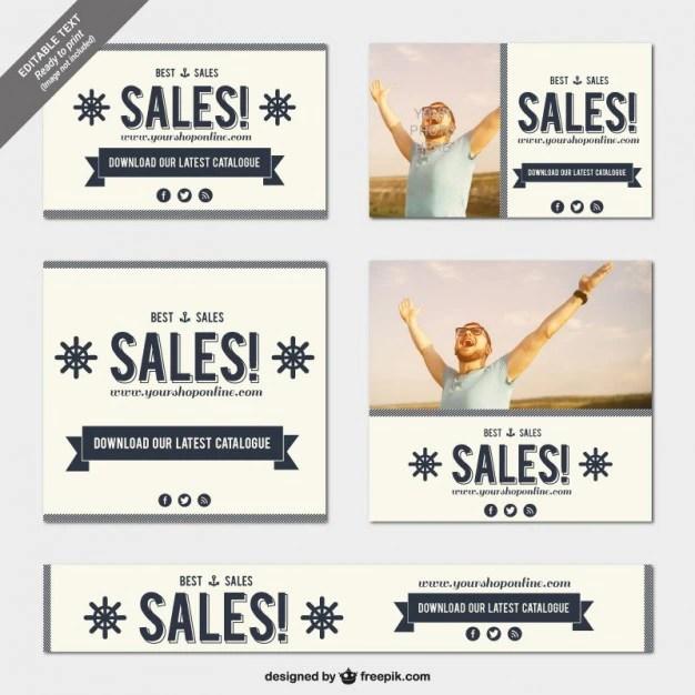 Vintage sales banner templates Vector Free Download