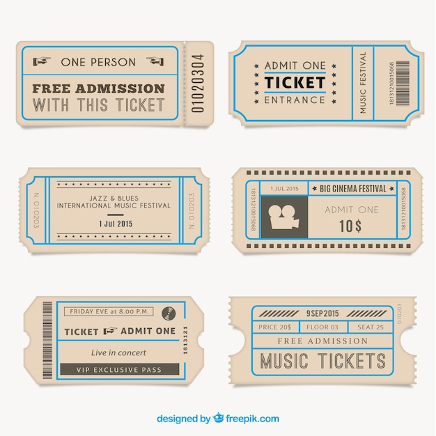 Vintage tickets collection Vector Premium Download - e ticket template