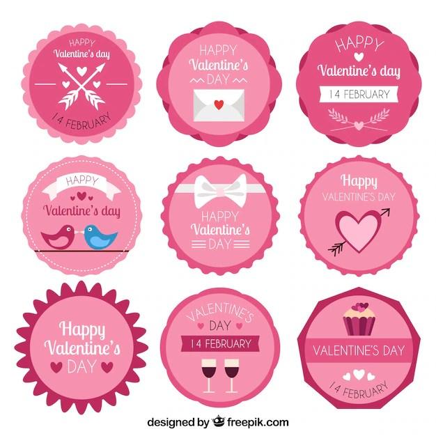 Vintage valentine\u0027s day label/badge collection Vector Free Download