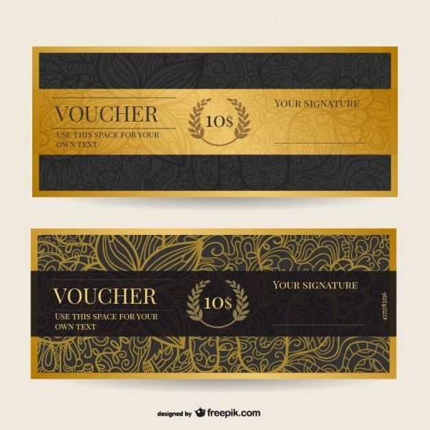 Vintage voucher template Vector Free Download - print your own voucher