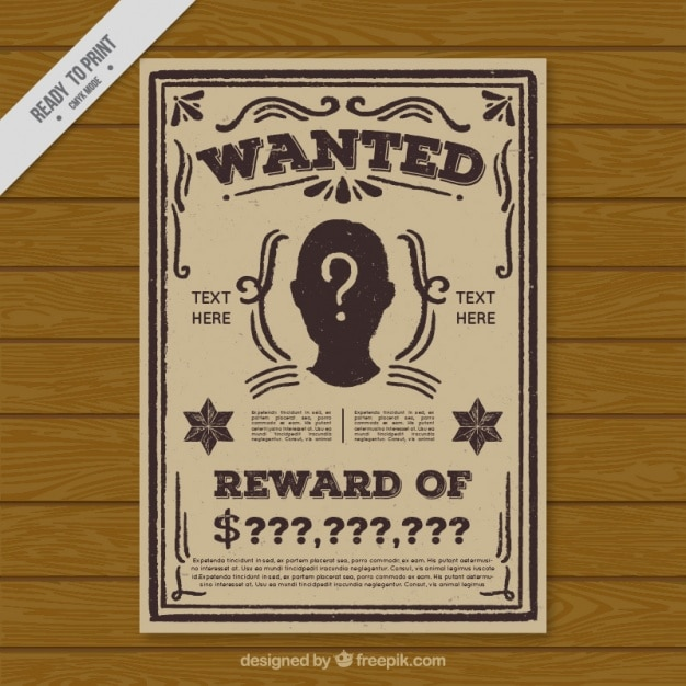 Vintage wanted criminal poster template Vector Free Download