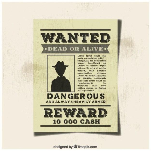 Vintage wanted criminal poster Vector Free Download - criminal wanted poster