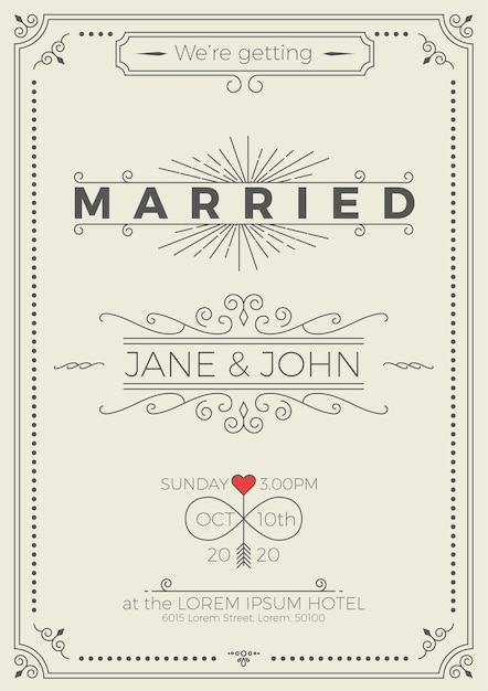 Vintage wedding invitation card template with clean  simple layout - invitation card formats