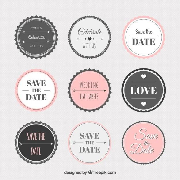 Vintage wedding sticker collection Vector Free Download - free sticker template
