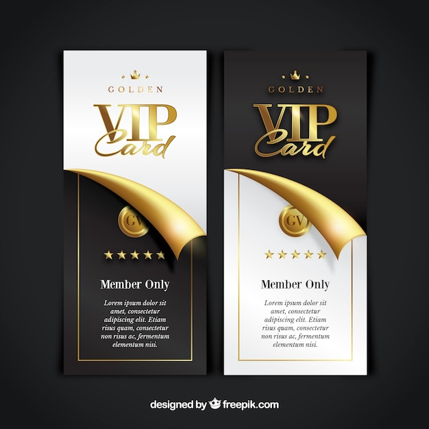 Vip member card collection Vector Free Download