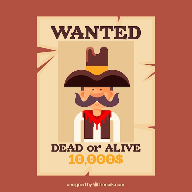 Wanted poster for alive or dead criminal Vector Free Download - criminal wanted poster