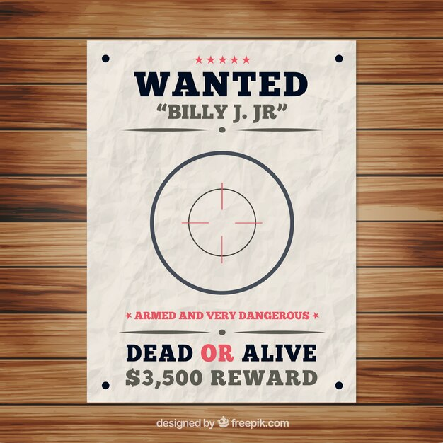 Wanted poster template with bullseye Vector Free Download
