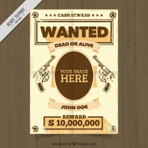 Wanted poster template with handgungs drawings Vector Free Download
