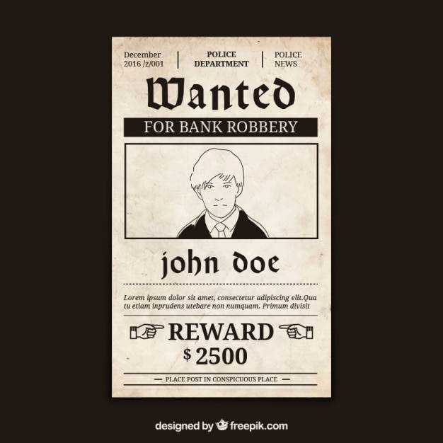 Wanted poster with criminal and great reward Vector Free Download - criminal wanted poster