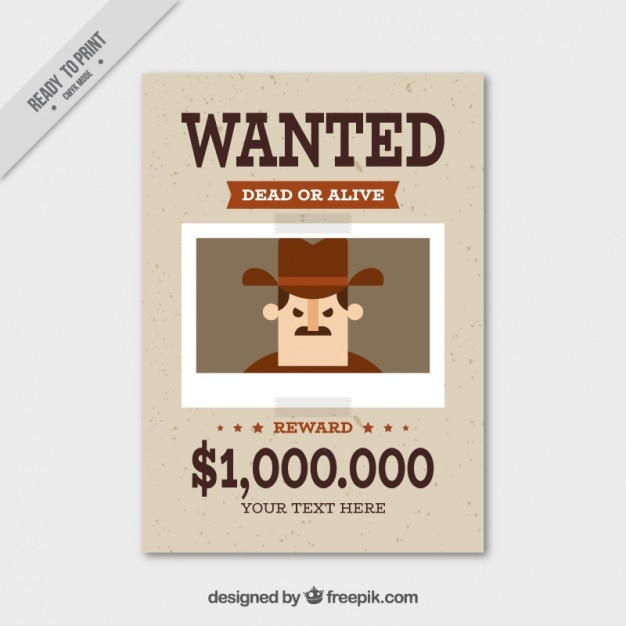 Wanted poster with flat criminal and great reward Vector Free Download
