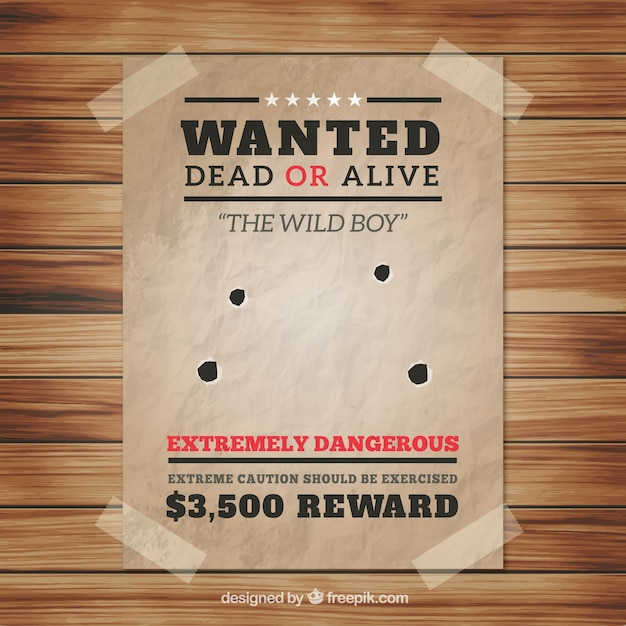 Wanted poster with four bullet holes Vector Free Download
